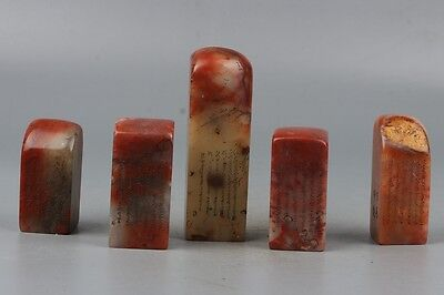 Chinese Exquisite Hand-carved Calligraphy & Poetry  Five Shoushan Stone Seals