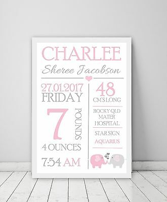 Personalised Custom Baby Birth Print Wall art in A4, A3 Size or Canvas!