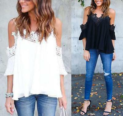 Fashion Womens Summer Long Sleeve Shirt Blouse Casual Lace Floral Tops T-Shirt