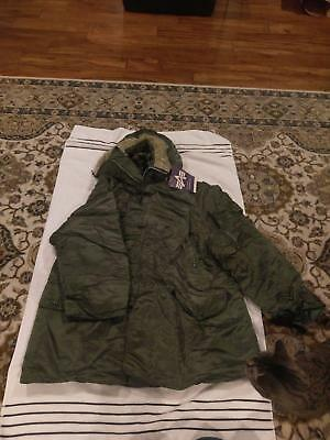 Men's Military Extreme Cold Weather Type N3B Parka Jacket Alpha Industries Large
