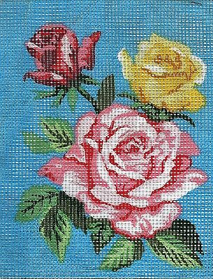 PRETTY POSY OF PINK ROSES NEEDLEPOINT TAPESTRY canvas to stitch- 20 X 25 CM