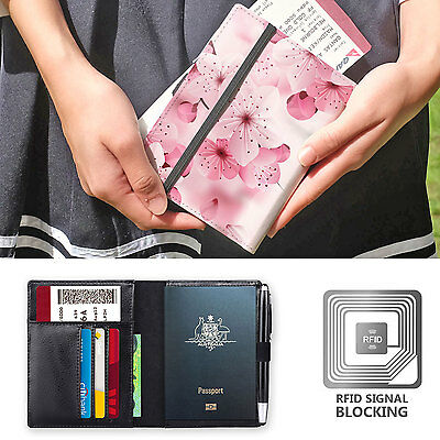 Genuine Leather Rfid Blocking Passport Cover Wallet Organizer Pink Flower