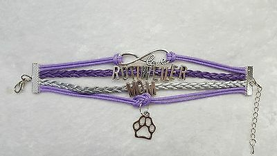Rottweiler Mom Dog, Bracelet, Purple & Silver with Charms