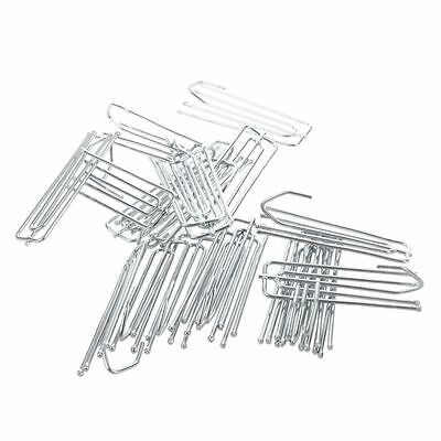 20 Pcs 6.9cm Length Silver Tone Stainess Steel Curtain Pleat Hook N8O7
