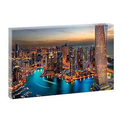 dubai panorama bild keilrahmen leinwand poster wandbild xxl 120 cm 80 cm 632 eur 34 50. Black Bedroom Furniture Sets. Home Design Ideas
