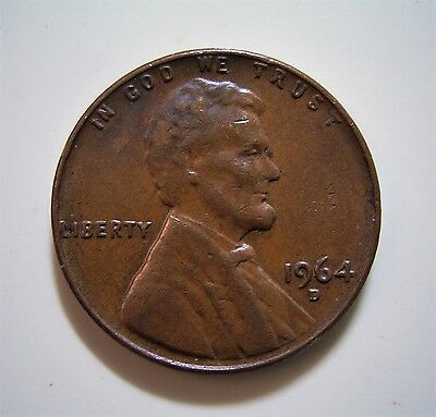 USA 1964D 1 cent coin...Circulated in very good condition, good detail