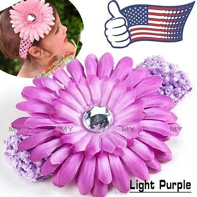 Purple Kids Baby Headband Toddler Lace Bow Flower Hair Band Accessories Headwear