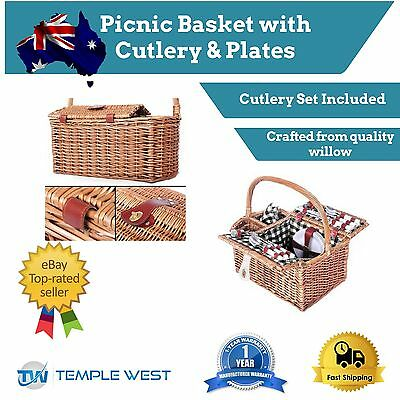 4 Person Picnic Basket Set Blanket Ceramic Plates Stainless Steel Cutlery Wine