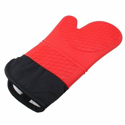 Silicone Oven Mitt Cooking Mitt with Extra Long Canvas Stitching Glove Heat O6Q5