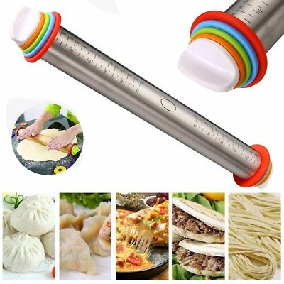 Stainless Steel Adjustable Rolling Pin Rings Beech Baking Tool 4 Adjusting Discs