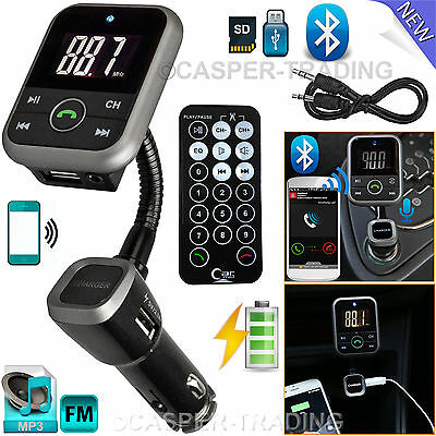 Wireless Bluetooth Car MP3 Player LCD FM Transmitter SD USB Charger Kit + Remote
