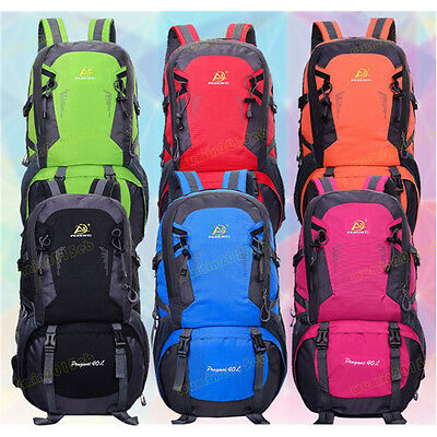 40L Waterproof Camping Backpack Travel Luggage Shoes Rucksack Bag Breath Strap