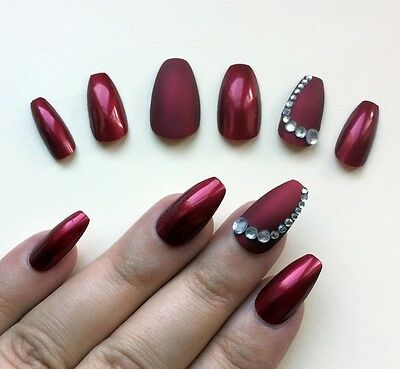 Hand Painted False Nails Coffin (Or Any Shape) Matte & Gloss Red Sparkle UK