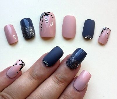Hand Painted False Nails Square (Or Any Shape) Gloss & Matte Pastel Pink & Grey