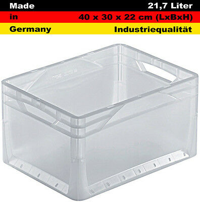 Lagerkiste Transportbox Euro Box Stapelbox transparent 40x30x22 cm, 24 Liter
