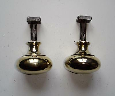 Pair of Victorian Fixed Brass Knobs with Square Threaded Spindle & Nut