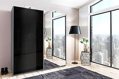 German Meissen Black Gloss Mirror Grey 2 Door 180cm Sliding Slider Door Wardrobe