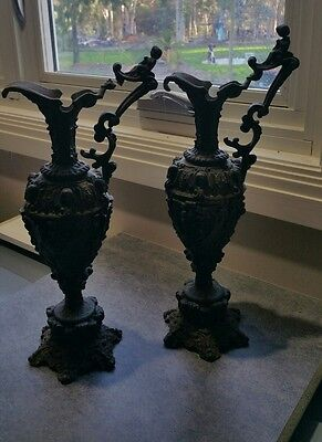 Pair of Cast Iron mantle vases