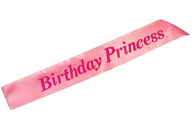Birthday Princess Pink Ribbon Sash Kids Ladies Fancy Dress Party Accessory Girls