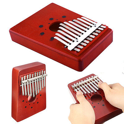 10 Keys Children Red Wooden Thumb Kalimba Piano Traditional Musical Instrument