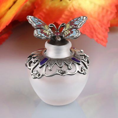 40ML Vintage Metal Butterfly Refillable Crystal Perfume Bottle Home Decor Gift