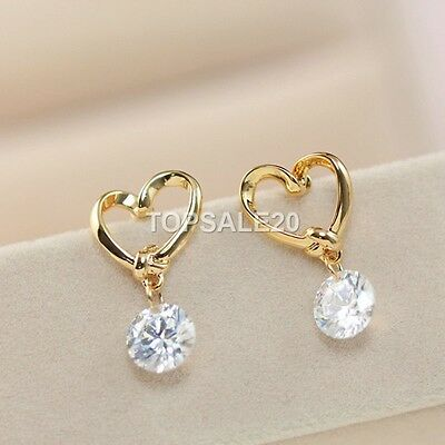 18k Gold Plated Heart Shape Rhinestone Crystal Earrings