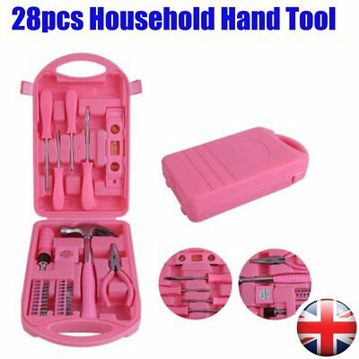 28pcs Precition Hand Tool Kit Pink Household Set Box Ladies Women Home Tools CY