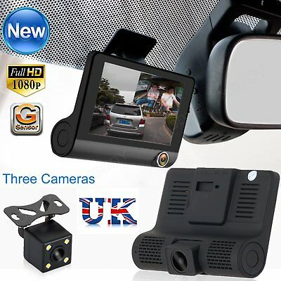 4'' HD 1080P Car DVR Dual Lens Dash Cam Rearview Video Recorder Camera G-sensor