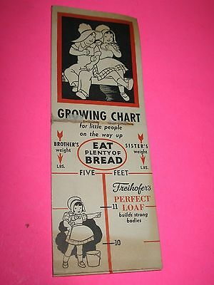 Freihofer's  Bread Growing Chart Vintage Rare