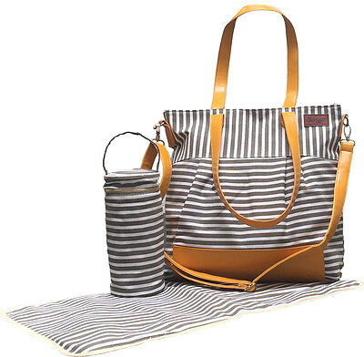 Stylish Grey & White Striped Baby Changing Bag/Nappy Diaper Bag NEW