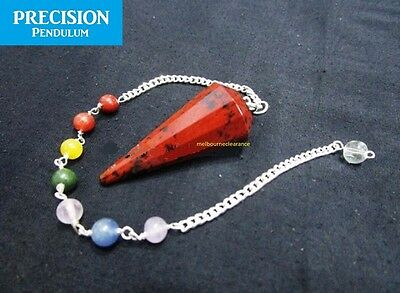 Mahogany Obsidian Faceted Crystal Gemstone Precision Pendulum with Chakra Chain