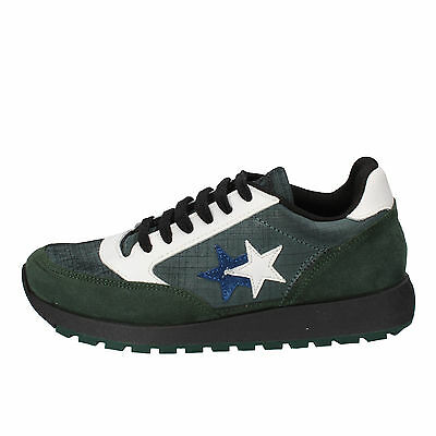 mens shoes 2 STAR 6 (EU 40) sneakers green leather suede AD433-B