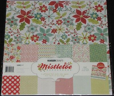 "Kaisercraft 'MISTLETOE' 12x12"" Paper Pk+ Stickers Xmas/Poinsettia/Holly KAISER"
