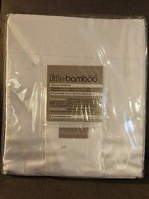 New Little Bamboo Australia Bassinet Bassinet Sheet Set White 70% Bamboo RRP $38