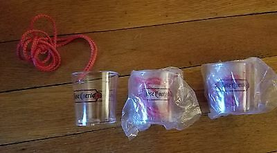 Set of 3 Jose Cuervo Tequila Shot Glasses with necklace.