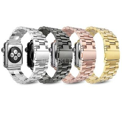 Stainless Steel Butterfly Lock Strap Watch Bands For Apple Watch Series 1/2 & 3