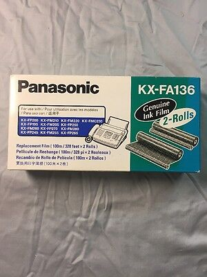 NEW Genuine Panasonic KX-FA136 Fax Toner / Replacement Ink Film (2 Roll Pack)