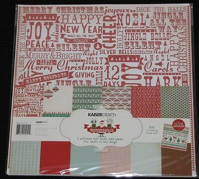 "Kaisercraft 'GINGERBREAD' 12x12"" Paper Pk+ Stickers KAISER Xmas *Deleted 2 Left*"