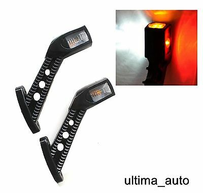 2 X Smd Led 12/24V Side Rubber Stalk Marker Light Lamp Outline Trailer Truck