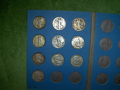 10 vintage silver half dollars coins lot 1917-1954  with Whitman coin book