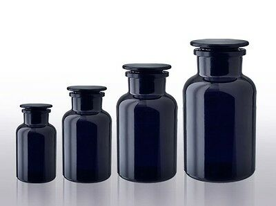MIRON Glass, Ultraviolet UV Protective Glass, Black Apothecary Jars, 250ml