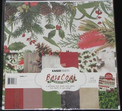 "Kaisercraft 'BASECOAT CHRISTMAS' 12x12"" Paper Pk+ Stickers Xmas KAISER *Deleted*"