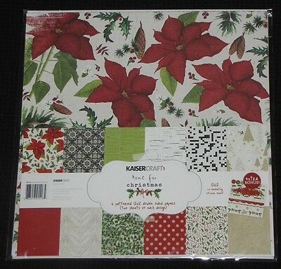 "Kaisercraft 'HOME FOR CHRISTMAS' 12x12"" Paper Pk+ Stickers Xmas KAISER *Deleted*"