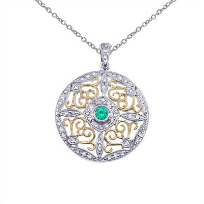 "14k Two-Tone Gold Emerald and Diamond Round Filigree Pendant with 18"" Chain"