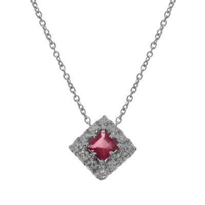 """14k White Gold Princess Ruby Pendant and 18"""" Chain"""