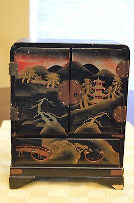 Antique Japanese Black Lacquered Wood Cabinet Storage  Jewelry Box.