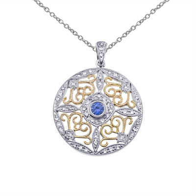 "14k Two-Tone Gold Sapphire and Diamond Round Filigree Pendant with 18"" Chain"