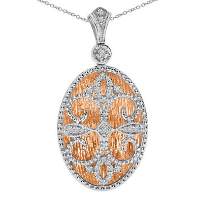 "14k Rose Gold and White Gold Diamond Fashion Pendant with 18"" Chain"