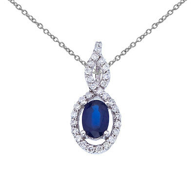 """14k White Gold Oval Sapphire and Diamond Pendant with 18"""" Chain"""