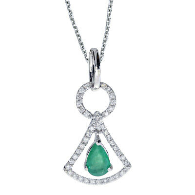 """14k White Gold Emerald and .16 ct Diamond Pendant with 18"""" Chain"""